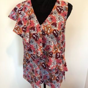 Banana republic floral sleeves top with ruffle